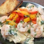 Creamy Shrimp and Arugula Fettuccine with Grilled Peppers