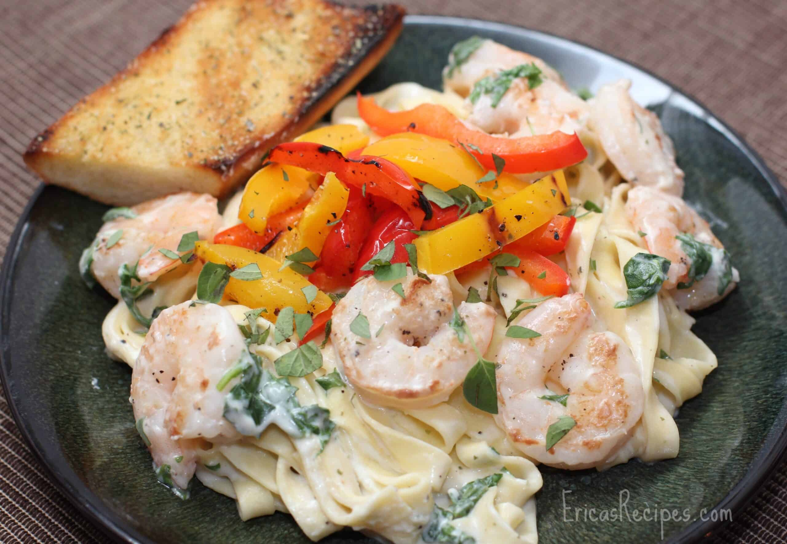 Boursin Sauce Fettuccini with Shrimp and Grilled Bell Peppers