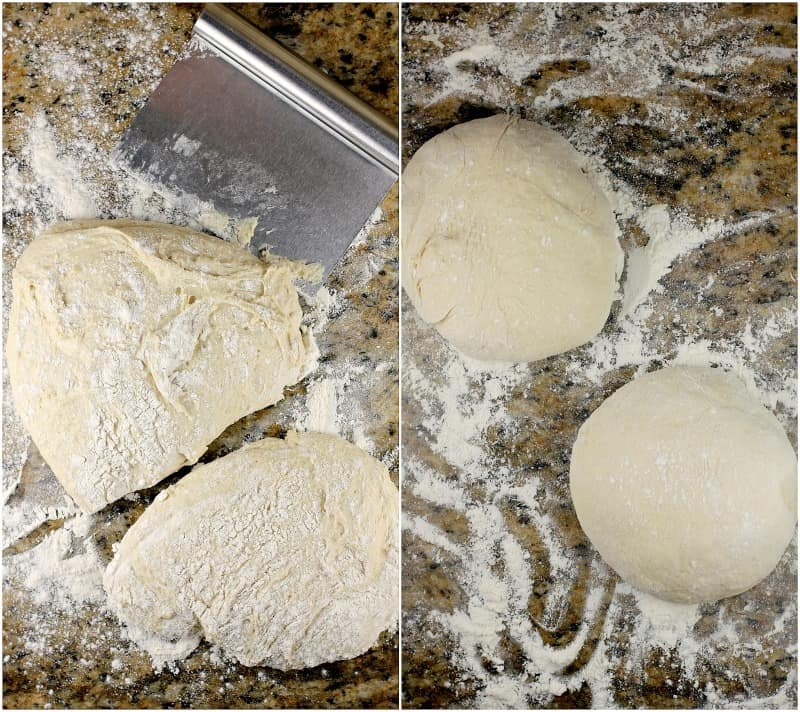 collage of 2 photos: left, divided dough; right, 2 balls of dough