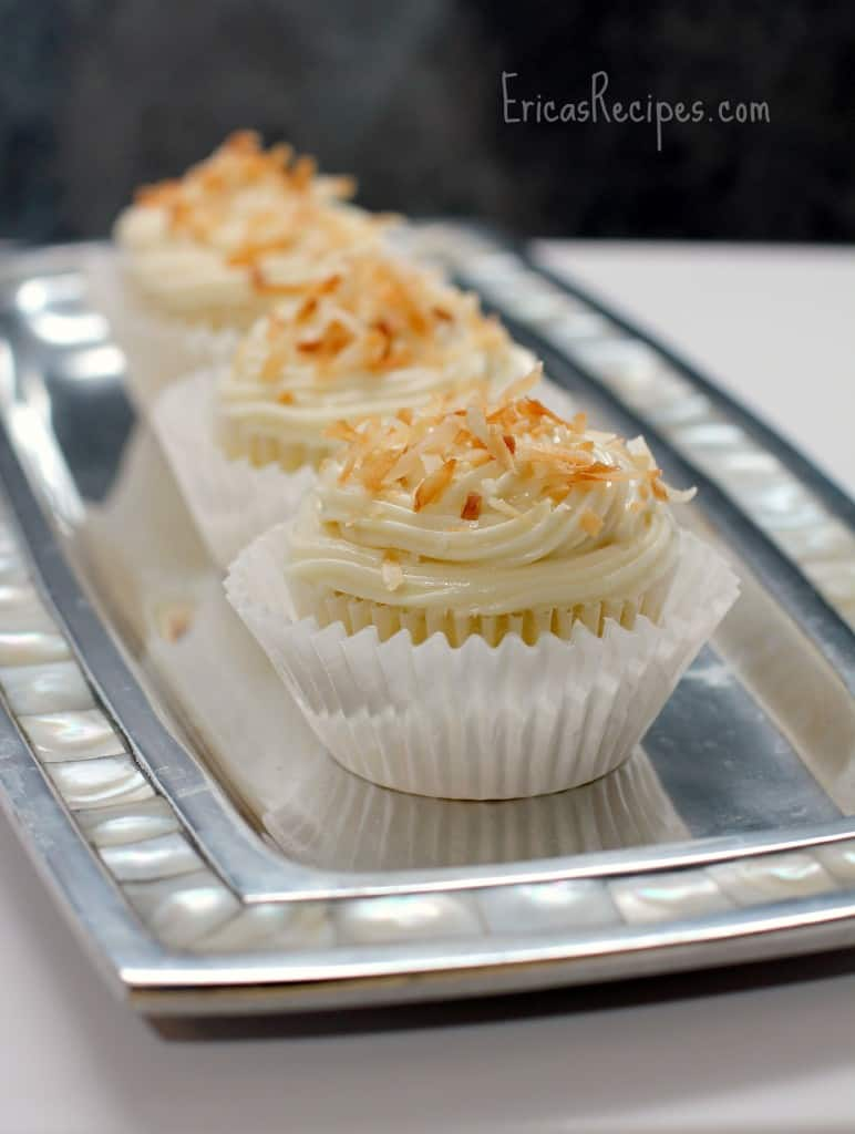 Pineapple Coconut Cupcakes with Honey Cream Cheese Frosting - EricasRecipes.com