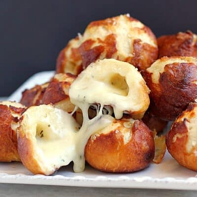 Garlic Cheese-Stuffed Pretzel Bread Bombs