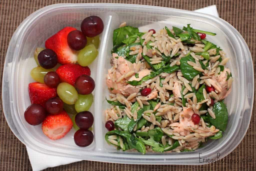 Orzo Power Salad with Salmon, Walnuts, and Greens
