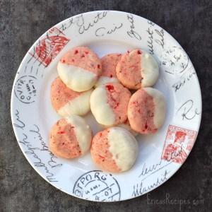 White Chocolate-Dipped, Cherry Pecan Cookies | EricasRecipes.com