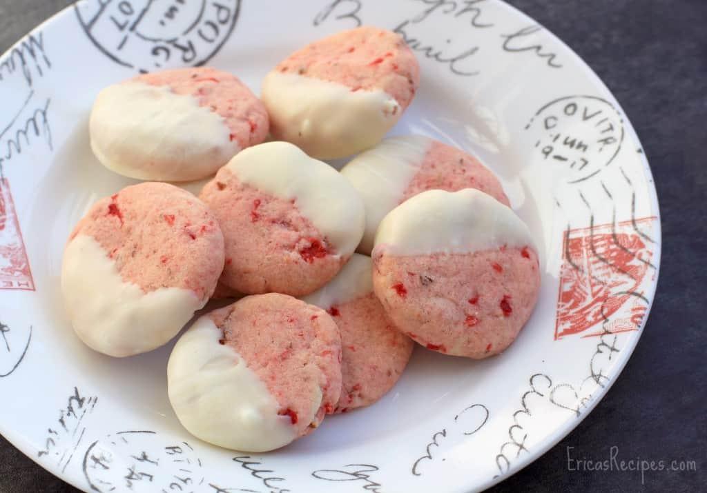 White Chocolate-Dipped, Cherry Pecan Cookies