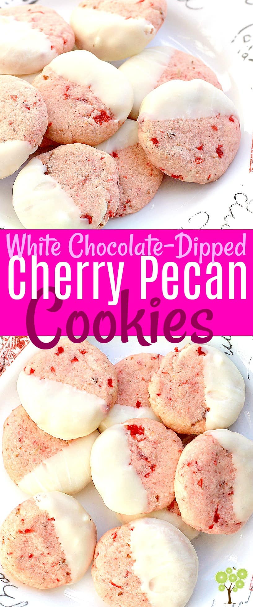White Chocolate-Dipped, Cherry Pecan Cookies #cookies #food #recipe #pink