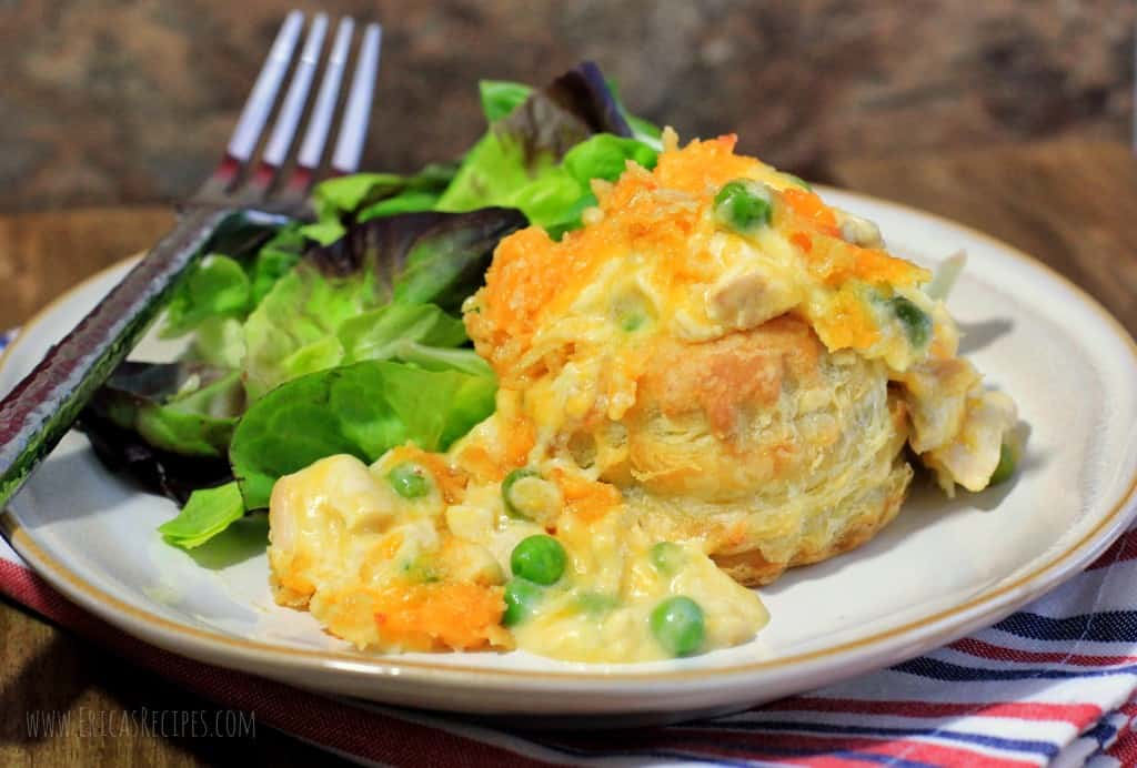 Cheesy Individual Chicken Casserole en Puff