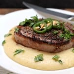Bacon-Wrapped Peppercorn Filet with Pepperjack Grits