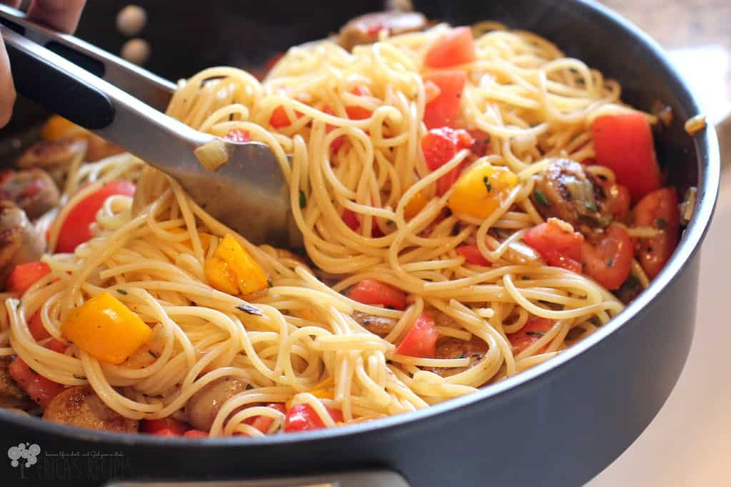 Chicken Sausage and Rosemary Spaghetti
