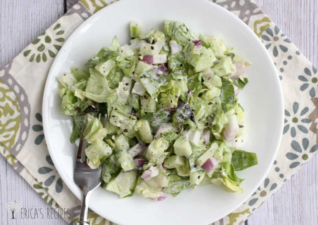 Chopped Salad with Buttermilk-Pesto Dressing