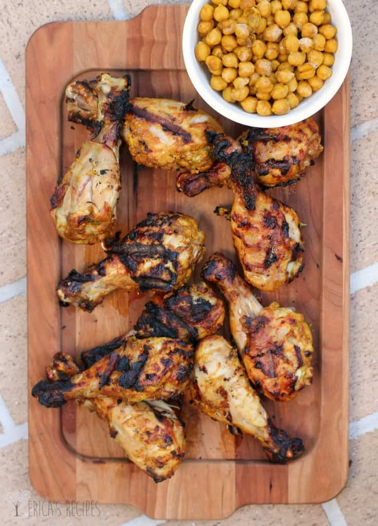 Grilled Tandoori Chicken with Spiced Chickpeas
