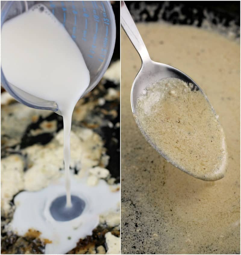 collage of 2 photos: left, milk pouring into a pan; right, spoon with cheese sauce