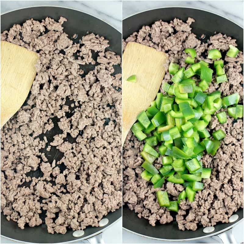 collage of 2 photos: browned ground beef in a skillet; ground beef with green bell pepper added