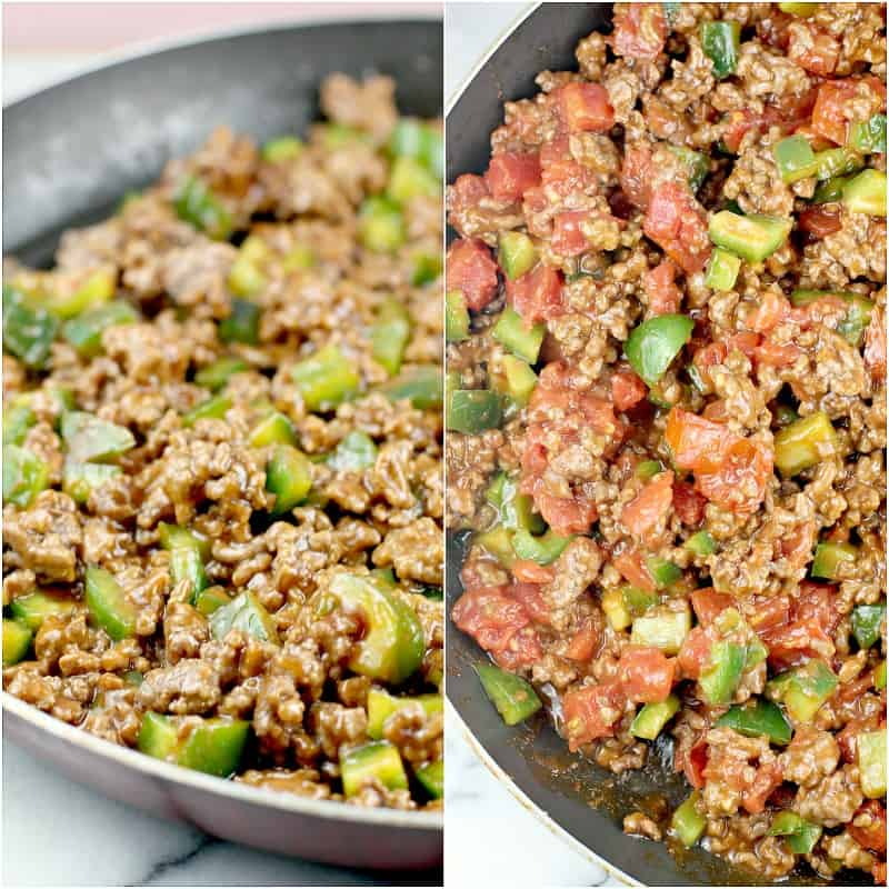 collage of 2 photos: left, ground beef, green bell pepper, and sloppy joe mix. right; mixture on the left with tomatoes added.