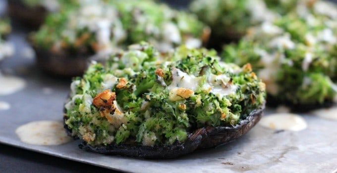 Broccoli-Stuffed Portabello Mushrooms with Dijon-Cheddar Sauce