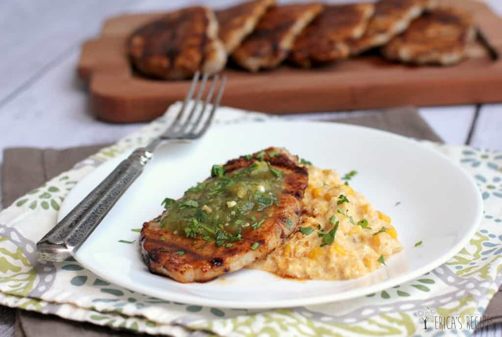 Coffee-Rubbed Pork Chops over Creamy Queso Corn