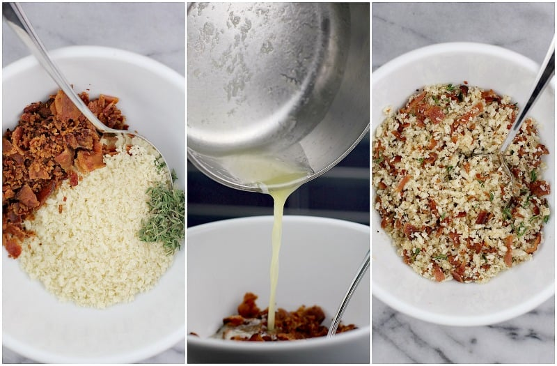 collage of three photos: bacon, panko, and thyme in a white bowl; side view of melted butter pouring into the bowl; combined ingredients with a spoon in a white bowl to show the finished topping