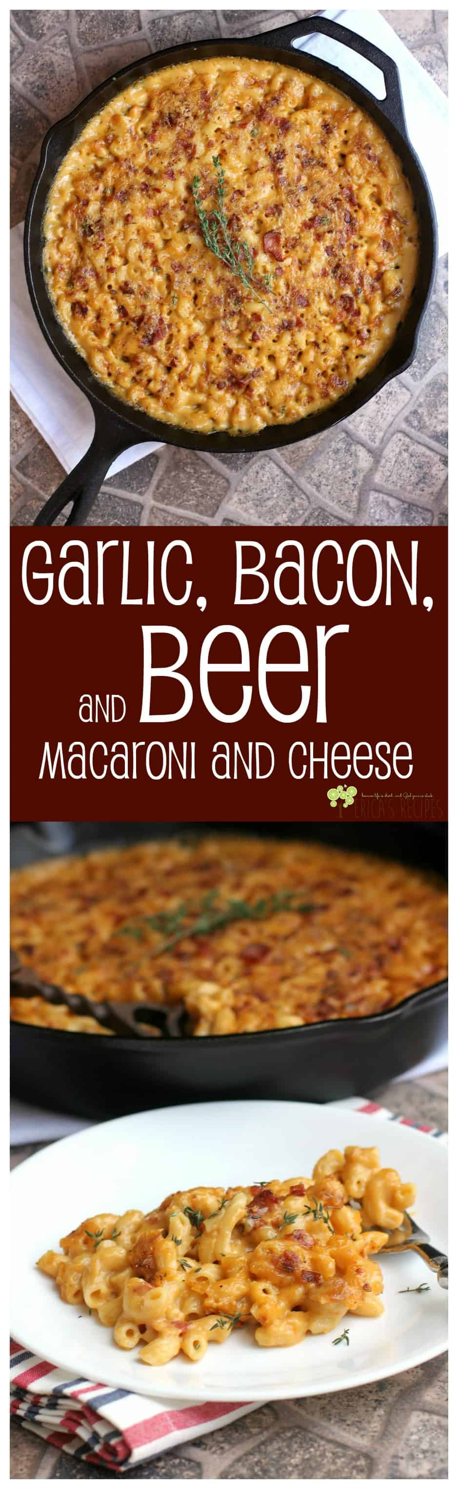 Garlic, Bacon, and Beer Macaroni and Cheese #food #recipe #macaroniandcheese #cheese #garlic #beer