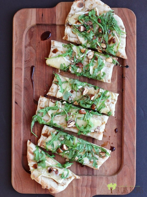 Grilled Flatbread Brie Arugula Candied Nuts Balsamic Honey Drizzle