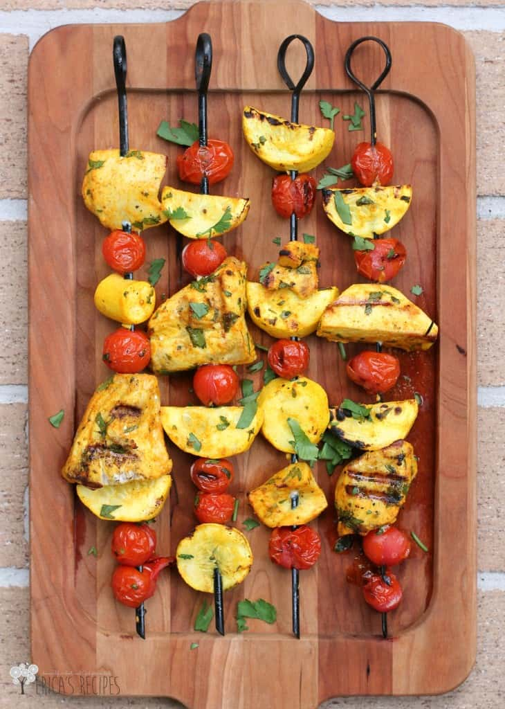 Persian spices and cool, herbed yogurt accent these delicious and healthy swordfish kabobs!