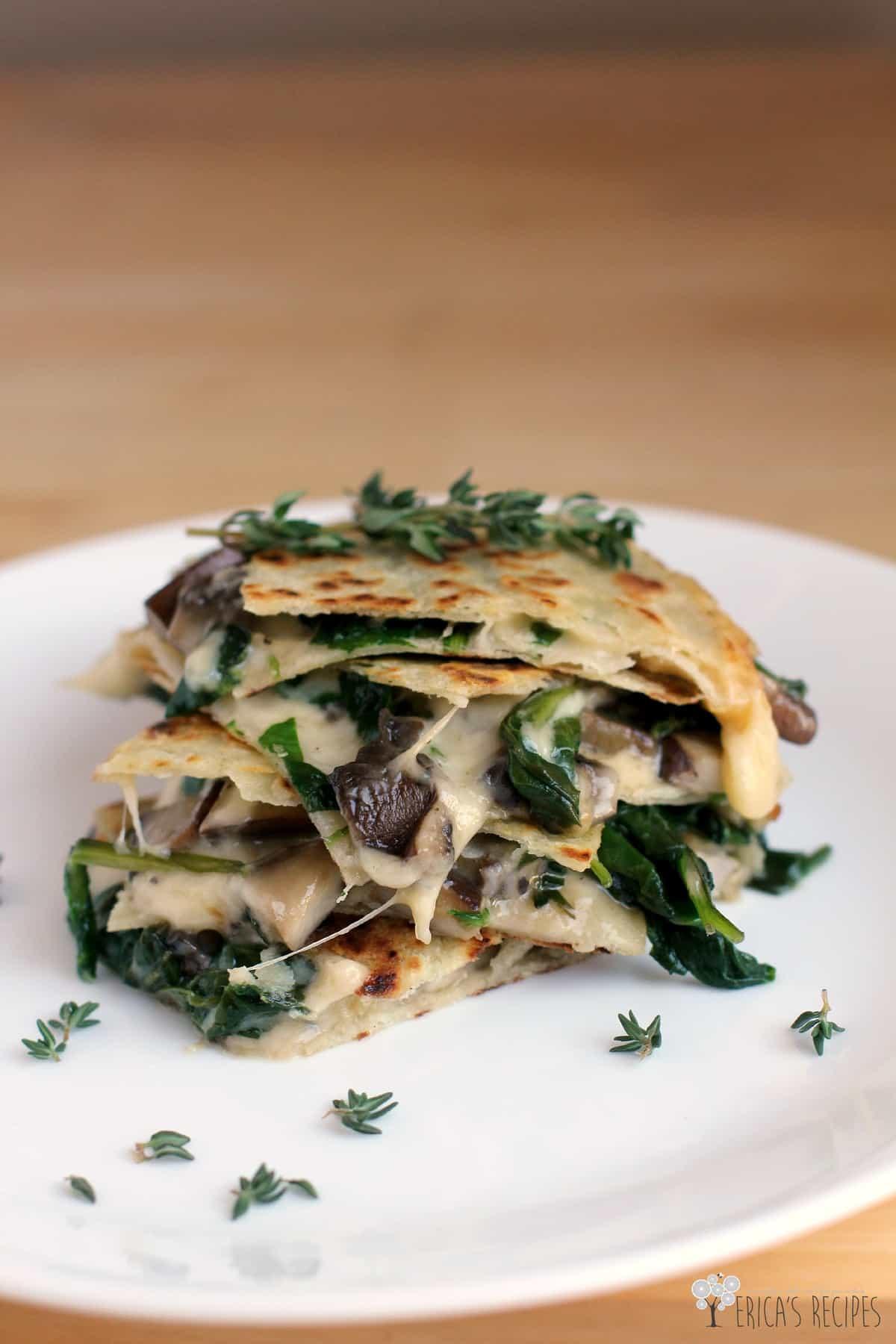 Spinach And Mushroom Quesadillas Recipe — Dishmaps