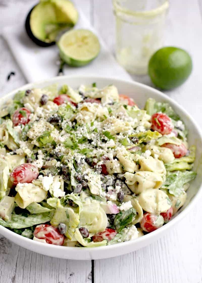 complete salad in a large white bowl