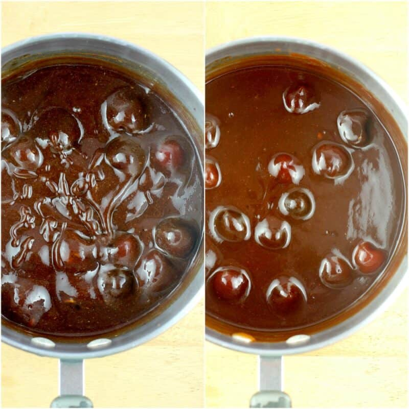 collage of 2 photos: left, uncooked sauce; right, cooked smooth sauce