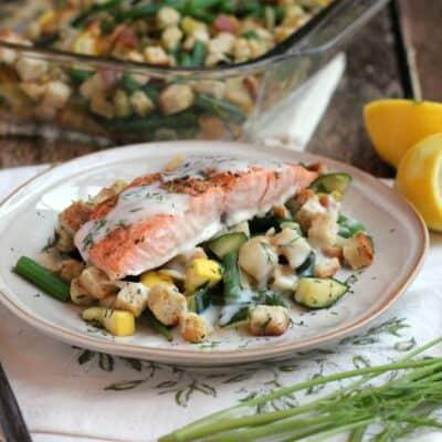 Lemon-Dill Salmon over Summer Vegetable Stuffing