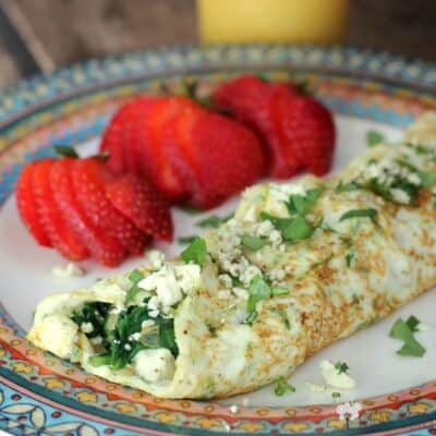 Spinach, Feta, and Herb Egg White Omelet …and My Typical Food Day