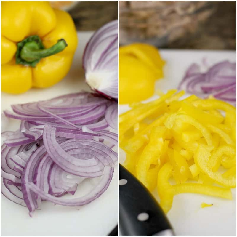collage of 2 photos: left, sliced onion; right, yellow bell pepper