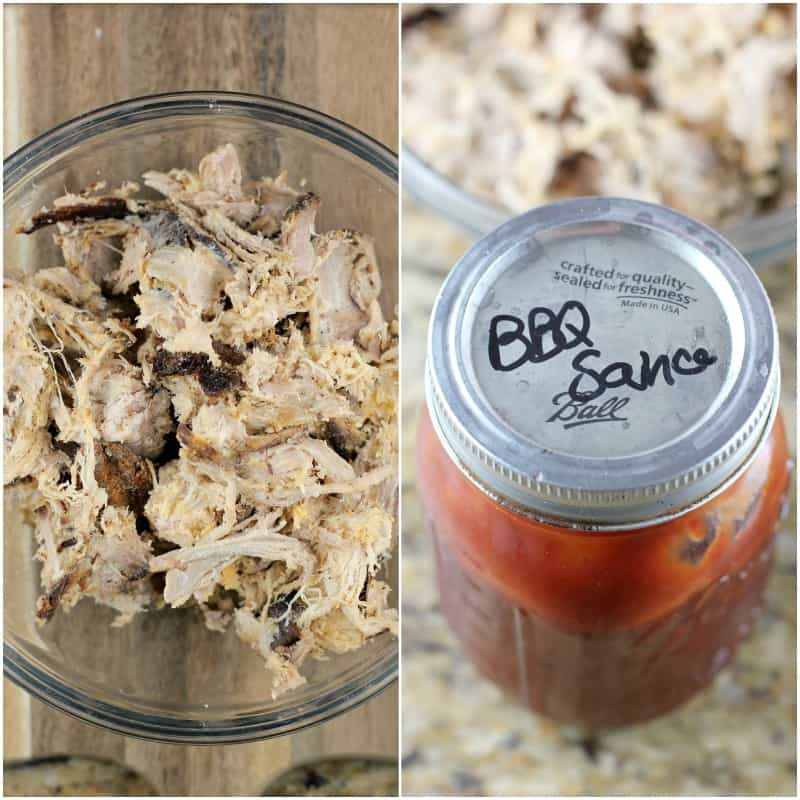 collage of 2 photos: left, pulled pork in a glass bowl; right, jar of bbq sauce