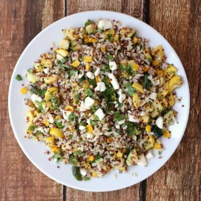 Calabacitas con Elote with Brown Rice and Quinoa