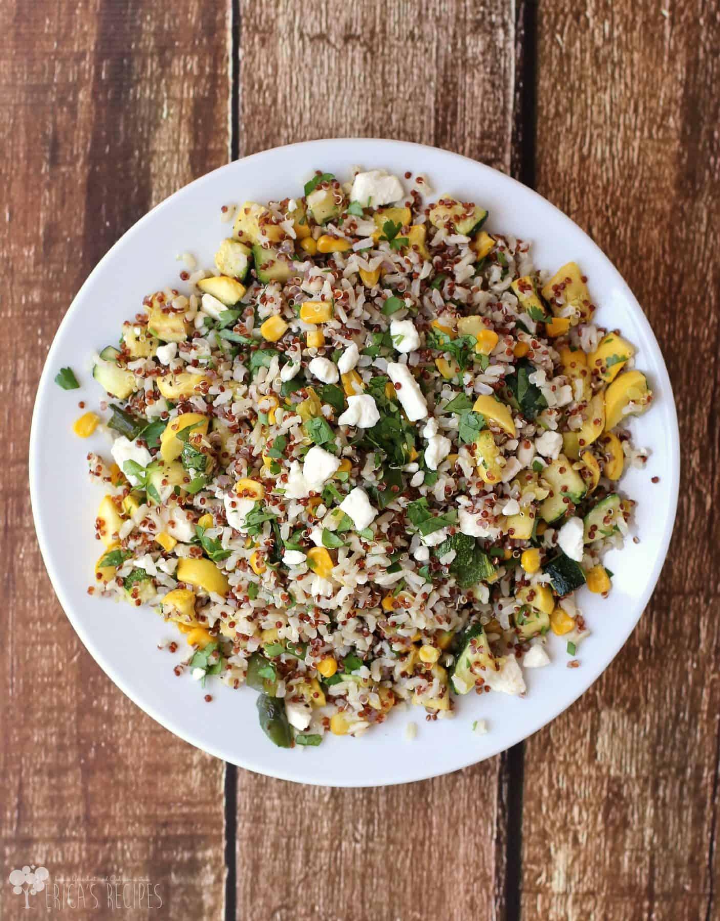 Calabacitas con Elote with Brown Rice and Quinoa