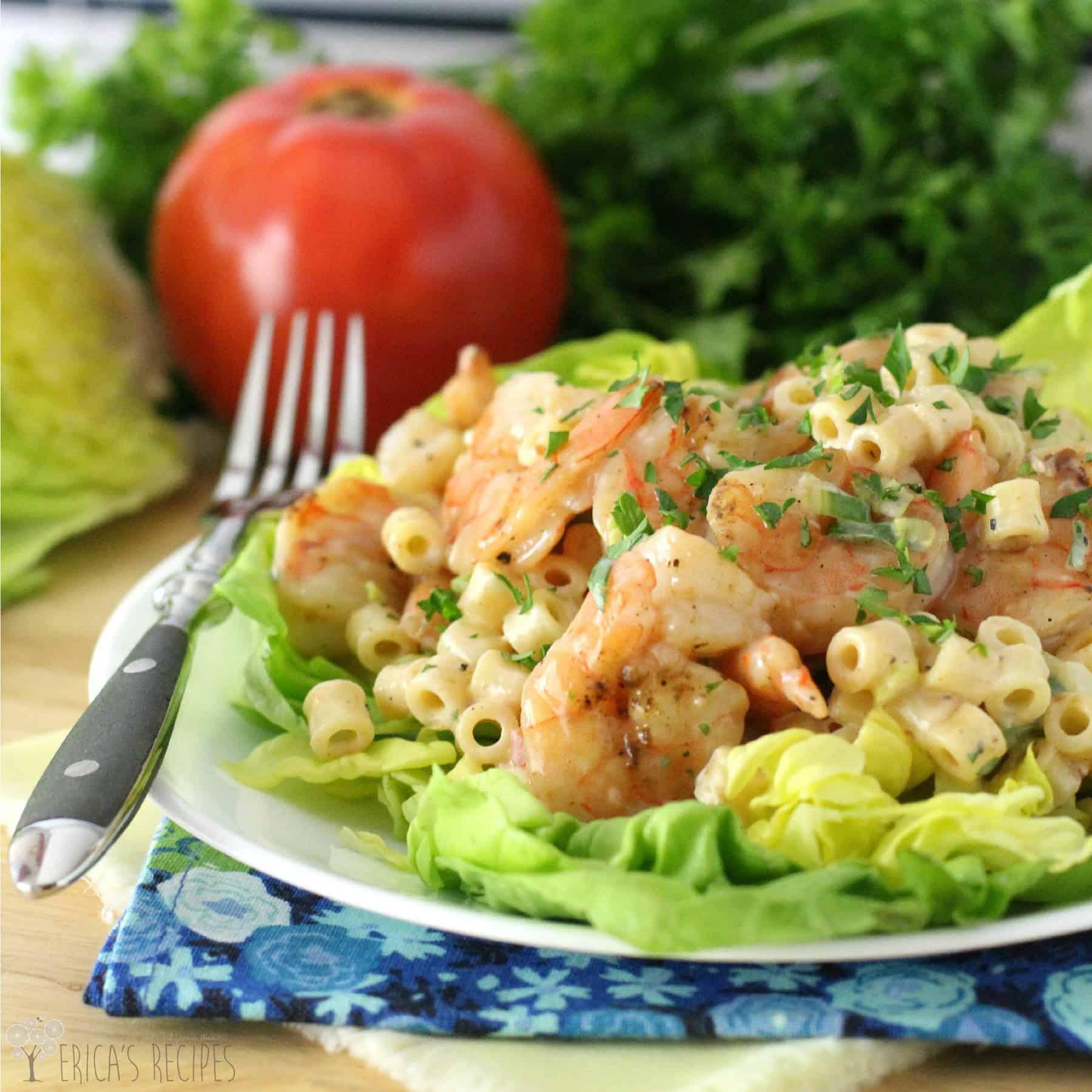 Healthy Grilled Shrimp Cocktail Pasta Salad