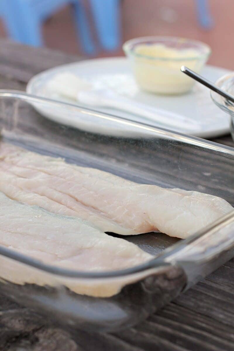 haddock filets in clear bake dish
