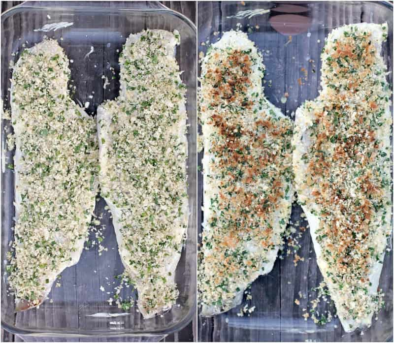 collage of 2 photos: left, assembled fish in bake dish; right, cooked fish in bake dish