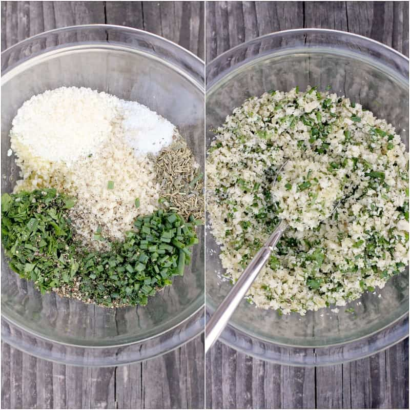 collage of 2 photos: left, ingredients for parmesan panko topping in clear glass bowl; right, ingredients combined with spoon