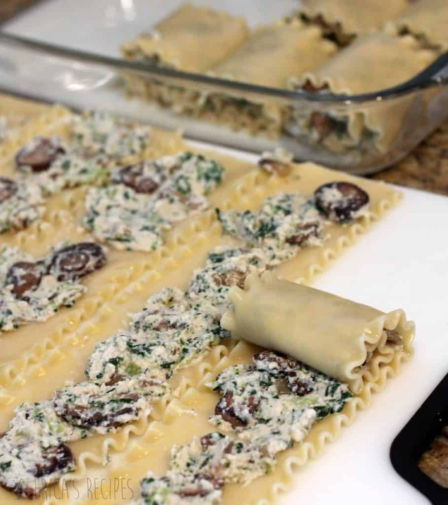 Mushroom, Broccoli, and Spinach Lasagna Roll-ups