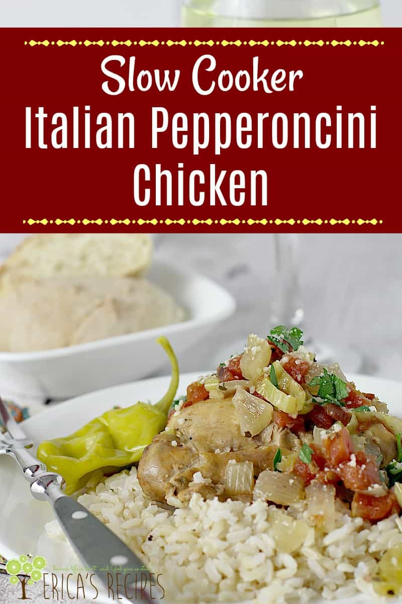 This simple, pulled chicken slow cooker recipe takes just minutes to throw together into the crock-pot for a healthy Italian Pepperoncini Chicken supper.