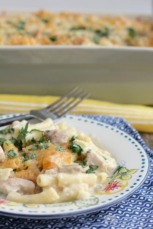Chicken Suiza Pasta Bake