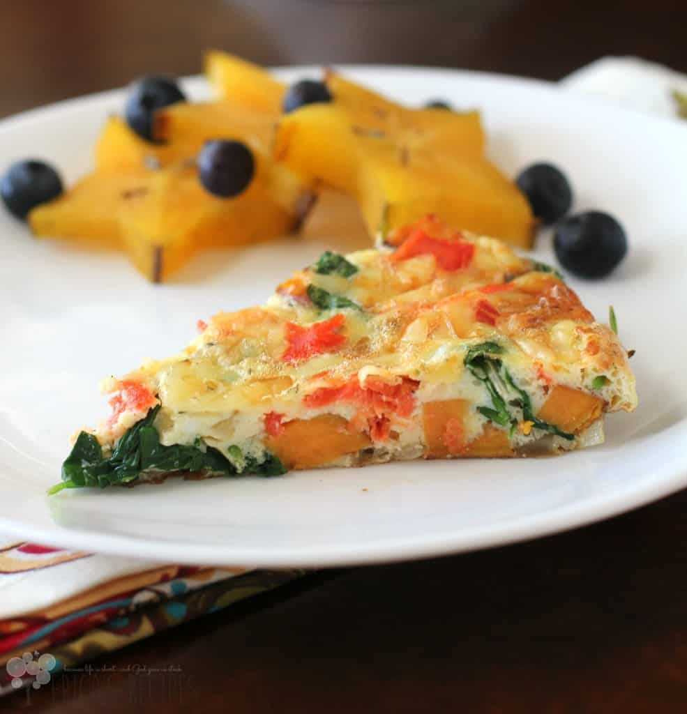 Healthy Frittata with Smoked Salmon, Baby Kale, and Sweet Potato