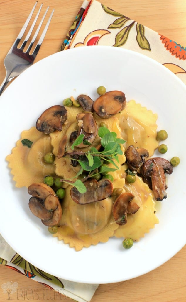 Simple Ravioli Marsala with Mushrooms and Peas