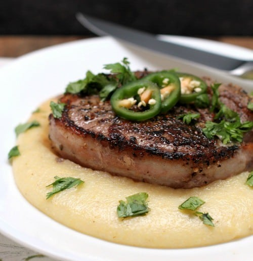 Bacon Wrapped Peppercorn Filet with Pepperjack Grits