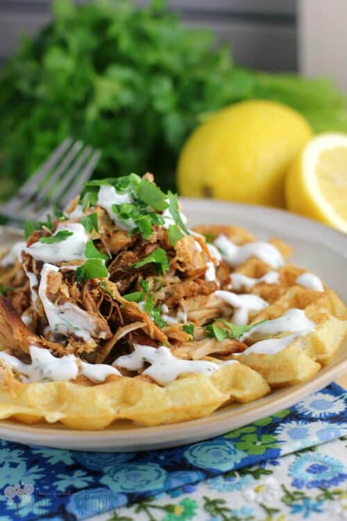 Honey Sriracha Pulled Chicken and Waffles with Buttermilk Ranch Dressing