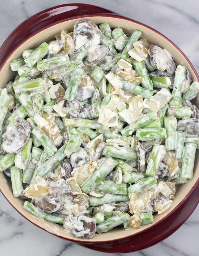 assembled asparagus au gratin before baking