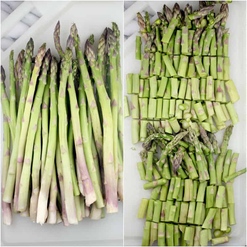 collage of 2 photos: left, asparagus spears on a white cutting board; right, asparagus cut into pieces