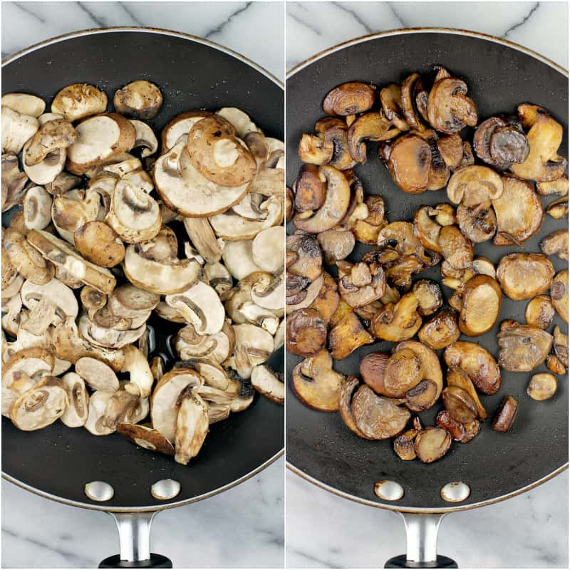 collage of 2 photos: left, raw mushrooms in skillet; right, browned mushrooms in skillet
