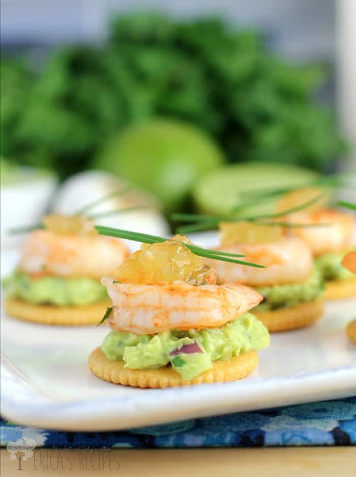 Garlic Sriracha Shrimp Topped Crackers