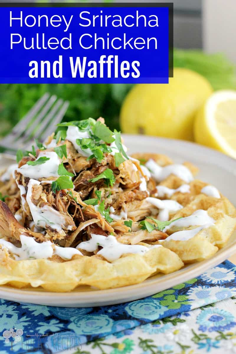 Honey Sriracha Pulled Chicken and Waffles with Buttermilk Ranch Dressing #recipe #slowcooker #chicken