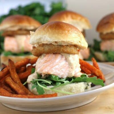 Cajun Salmon Sliders with Remoulade