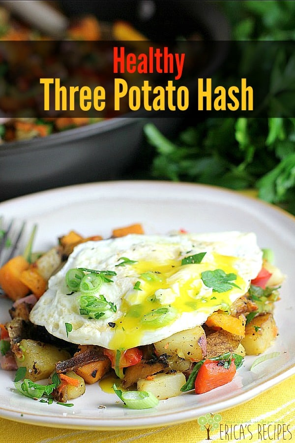 Pretty veggie colors paired with tender, leftover ham and a sunny egg a fabulous and healthy Healthy Three Potato Hash to start your day. #food #breakfast #recipe #leftoverham #potato #hash #eggs #healthyrecipe